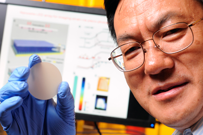 Professor Zhong Lin Wang of the Georgia Institute of Technology has developed a sensor that converts mechanical pressure directly into an optical image. (Source: Georgia Tech)