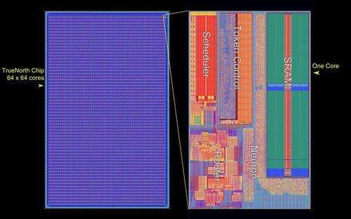 The layout of the chip (left) is composed of 64x64 array of neuro-synaptic cores, each of which (right) implements 256 neurons and 65,536 synapses for tightly integrated computation, memory, and communication.(Source: IBM)