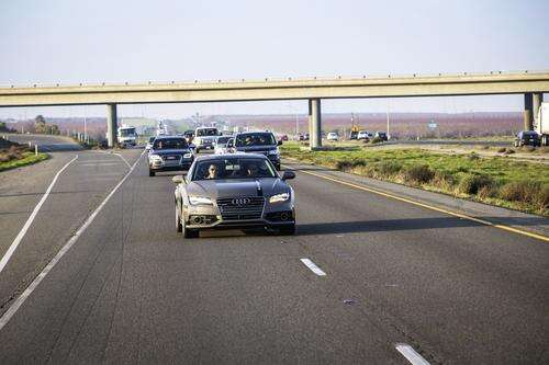 Audi's self driving A7 on its way to CES 2015.
