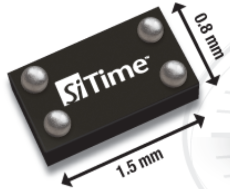 The package for SiTime's measures a scant 1.5-by-0.8-by-0.55 millimeters.(Source: SiTime)