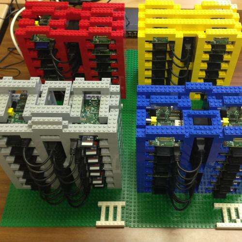 Using a combination of plastic Leggo Bricks and Arduino boards, University of Glasgow researchers have built a low-cost cloud architecture test bed.(Source: University of Glasgow Photo Gallery (https://raspberrypicloud.wordpress.com/))