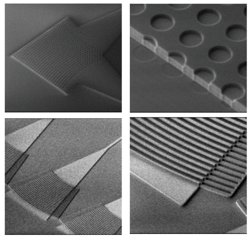 Silicon grating coupler: 2D grating to achieve polarisation diversity performance; Grating coupler with silicon overlay to reduce the coupling loss ((Source: IME)