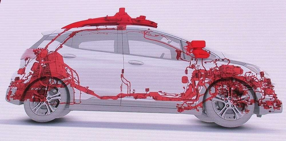 Cruise' latest test vehicle that started to roll off the GM production line is loaded with sensors, as indicated here in red. (Source: Cruise)
